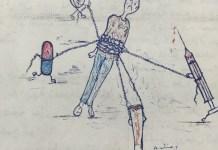 Dibujo de Nourdine para la revista de Hasnouna