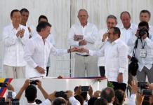 Indias, el gobierno de Colombia y las FARC se comprometieron a una política sin armas. Foto: ANDES / AFP