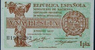 Billete de una peseta metido por las autoridades de la República Española en 1937