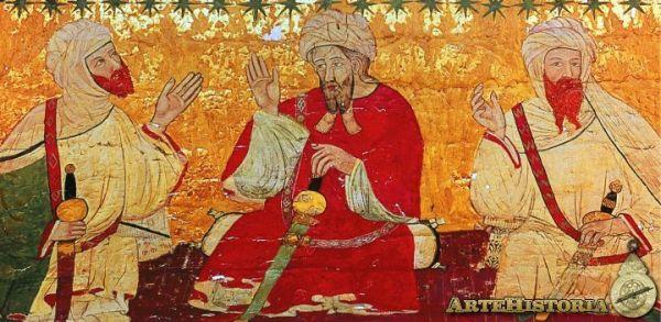 Pintura sobre cuero de la Sala de los Reyes, Palacio de los Leones de La Alhambra de Granada
