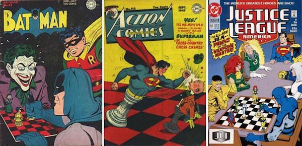 Reseña de portadas de superhéroes y ajedrez.