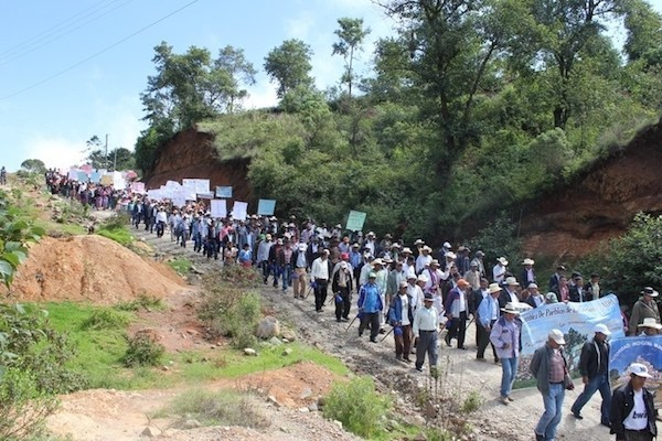 Protestas de los Maya Mam contra proyectos de minería en Huehuetenango, Guatemala