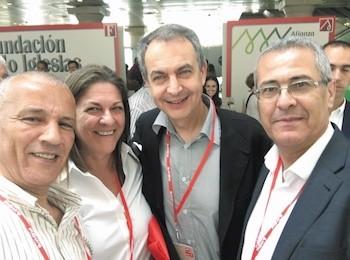 Delegación marroquí de la USFP junto al expresidente, Rodríguez Zapatero