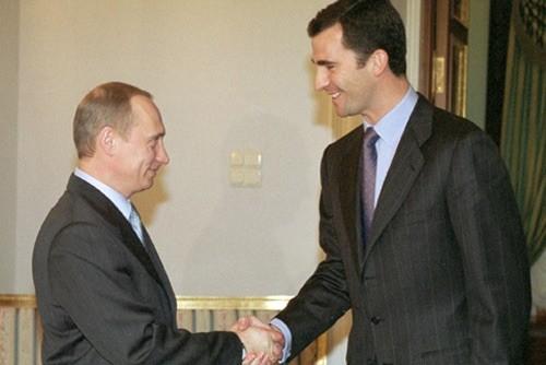 Encuentro del príncipe Felipe con el presidente ruso Vladímir Putin el 7 de febrero de 2002