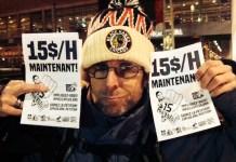 Un trabajador del puerto viejo de Montreal reclama el salario mínimo de 15 dólares por hora