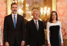 Los reyes de España Felipe y Letizia con el Premio Cervantes 2016, Eduardo Mendoza