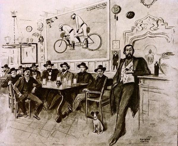 Joaquim Mir, Santiago Rusiñol, Ramón Casas, Ricard Canals, Pablo Picasso y Pere Romeu