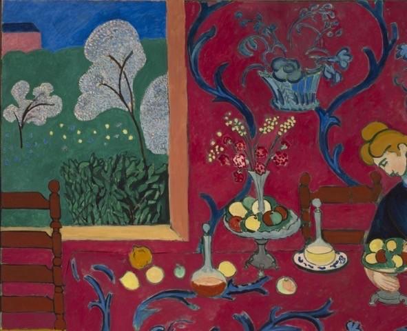 Henri Matisse, La Desserte (Harmonie rouge, La Chambre rouge), printemps-été 1908 Huile sur toile 180,5 × 221 cm Musée d'État de l'Ermitage, Saint-Pétersbourg © Succession H. Matisse Photo © Saint-Pétersbourg, Musée d'État de l'Ermitage, 2016