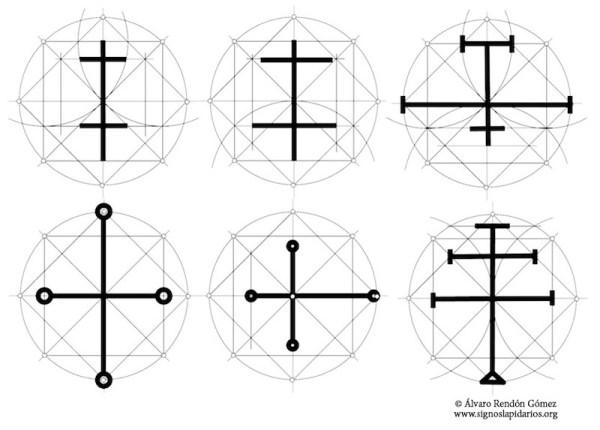 Ejemplos de signos lapidarios en forma de cruz sobre la red básica cuadrada copia
