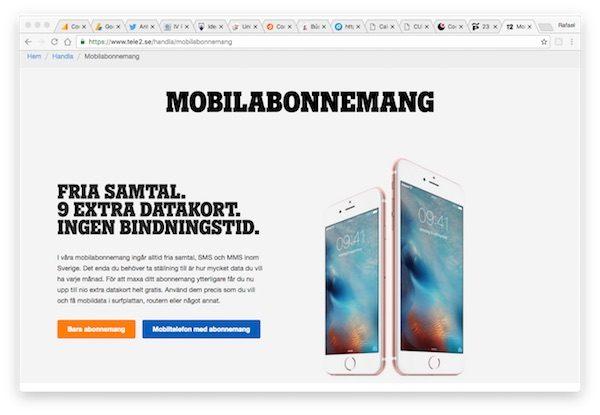 Sitio web de la operadora sueca Tele2-Sverige