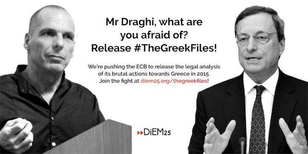 #TheGreekFiles: DiEM 25 quiere sacar a la luz un informe secreto del BCE