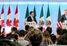 Reunión de los representes de los tres países, Canadá, Estados Unidos y México, el pasado 5 de septiembre de 2017