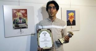 El primer premio fue para el iraní Hadi Asadi. Al lado, dibujo ganador.