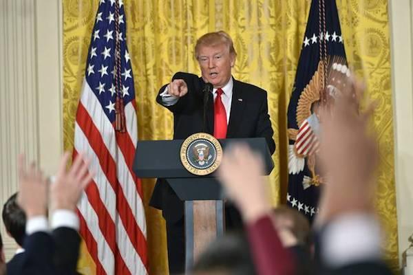 Donald Trump en una rueda de prensa
