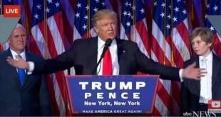 Donald Trump pronuncia su discurso como presidente electo de los EEUU