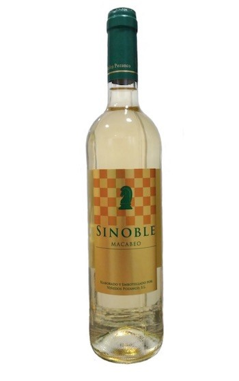 Botella vino Sinoble, vino de la tierra de Extremadura, con etiqueta alusiva al ajedrez.
