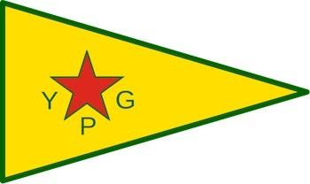 Bandera de la milicia kurda Unidad para la Protección del Pueblo (YPG)
