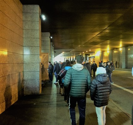 A walk under the main stand, built idiosyncratically over a dual carriageway.