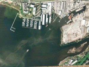 Plumes of potentially toxic sediment stirred up by barges and tugboats.