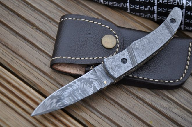 Damascus Folding Knife with handmade Leather Pouch - Work Of Art By Koobi