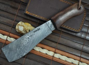 CUSTOM MADE HANDMADE DAMASCUS HUNTING KNIFE - MACHETE WORK OF ART