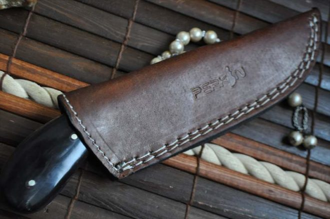 Full Tang Damascus Hunting Knife with Buffalo Horn Handle