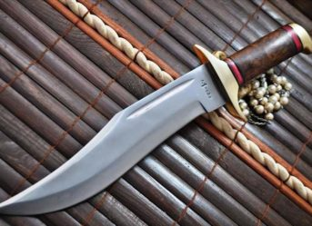 Handcrafted Large 440c Steel Bowie Knife with Walnut Wood Handle