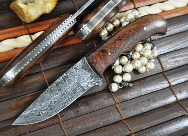 HANDCRAFTED BUSHCRAFT KNIFE UNIQUE FILE WORK IN SPINE - DAMASCUS STEEL