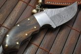 BUSHCRAFT KNIFE FOR HUNTING & CAMPING DAMASCUS STEEL & BURL WOOD