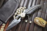 CUSTOM AMAZING FULL DAMASCUS FOLDING KNIFE WITH LEATHER POUCH