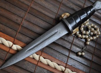 Custom Damascus Double Edge Hunting Knife With Leather Sheath