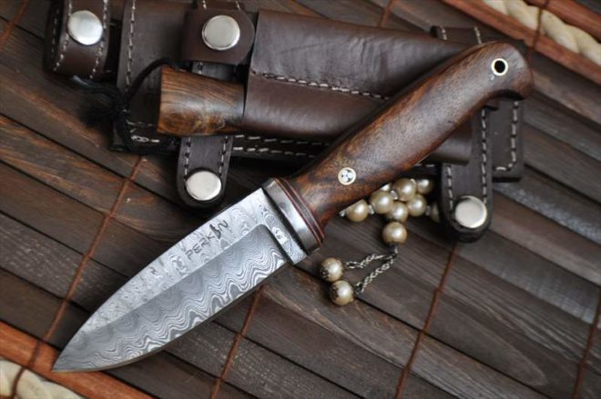 Custom Damascus Hunting/Bushcraft Knife with Handmade leather sheath