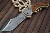 Custom Handmade Damascus Folding Knife with Pear Wood Handle
