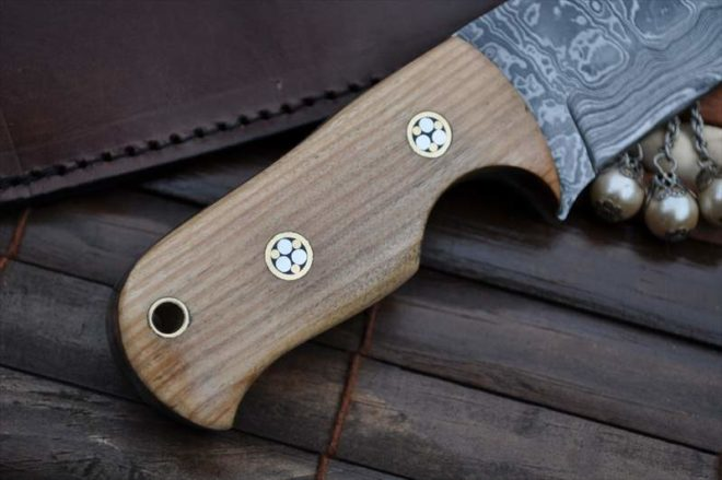 Neck Knife With Pear Wood Handle & Embossed Mosaic Pins