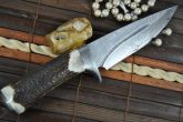 CUSTOM MADE DAMASCUS HUNTING KNIFE BEAUTIFUL CAMPING KNIFE