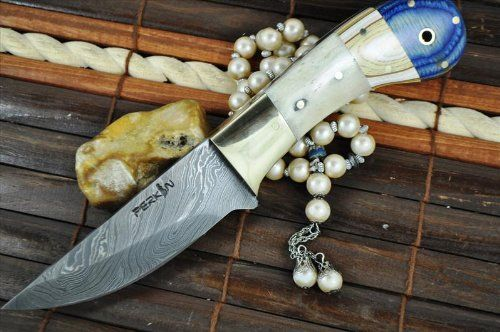 CUSTOM MADE DAMASCUS HUNTING KNIFE BONE & MICARTA HANDLE