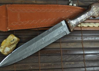 Unique Handmade Damascus Hunting Knife - Double Edge Blade