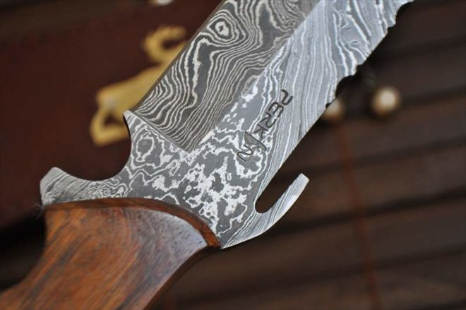 Custom Made Damascus Hunting Knife with Walnut Handle