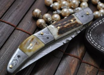 Custom Made Damascus & Stag Folding Knife - Toothpick Knife Work of Art By Chris