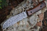 DAMASCUS BUSHCRAFT & HUNTING KNIFE UNIQUE BURL WOOD HANDLE-WBC10A