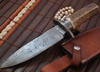 Damascus Hunting & Bowie Knife Handmade with American Stag Antler Handle