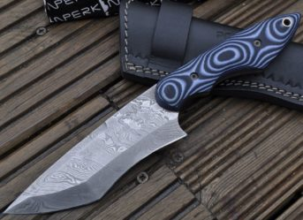 DAMASCUS HUNTING KNIFE - MICARTA HANDLE - MHR