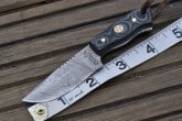 Handmade Damascus Steel Knife - Small bushcraft knife with sheath
