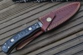 DAMASCUS HUNTING KNIFE WITH LEATHER SHEATH - 8TS