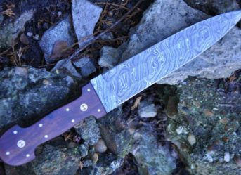 HANDCRAFTED DAMASCUS HUNTING KNIFE DOUBLE EDGE- BEAUTIFUL HANDLE