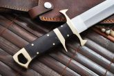 Beautiful Handcrafted 440c Steel Hunting Knife with Bull Horn & Brass Handle
