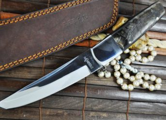 440c Steel Tanto Blade Knife with Ram's Horn & Mirror Polish