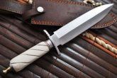 HANDCRAFTED HUNTING KNIFE DOUBLE EDGE- 440C STEEL & BONE-US7