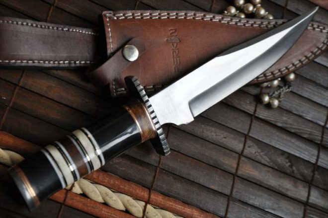 440c Steel Bowie Knife With Buffalo Horn, Walnut Wood & Camel Bone Handle