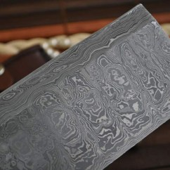 Damascus Steel Kitchen Knife Concrete Floor Handmade Chef With 2.5 Inch Wide ...